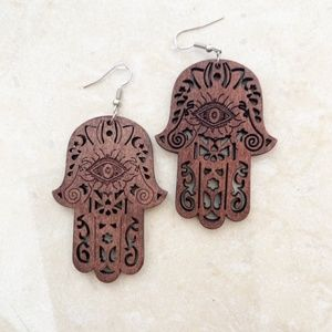 Boho Statement Wooden Hamsa Earrings-Handmade